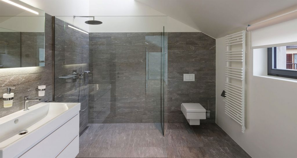 A large contemporary shower in a modern bathroom setting