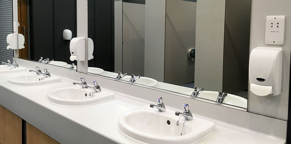 Basins in a commercial toilet
