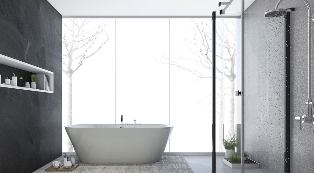 An image of a contemporary open bath with shower