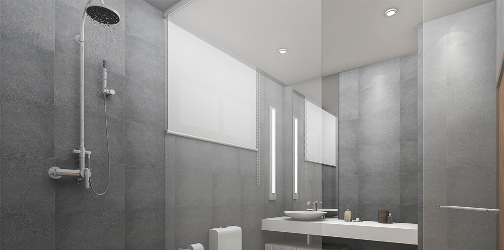 Contemporary shower in a grey and white bathroom setting.