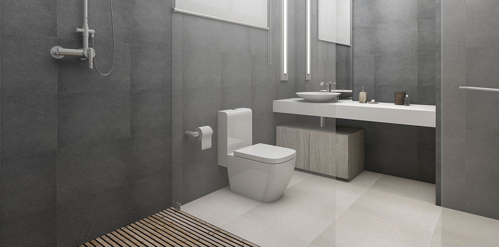 Beautiful grey bathroom with white toilet and basin